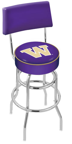 "UW Huskies 30"" L7C4 - Chrome Double Ring Washington Swivel Bar Stool with a Back by Holland Bar Stool Company"