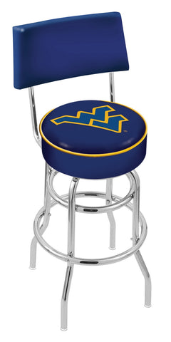 "WVU Mountaineers 30"" L7C4 - Chrome Double Ring West Virginia Swivel Bar Stool with a Back by Holland Bar Stool Company"