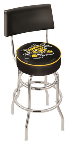"Wichita State  Shockers 30"" L7C4 - Chrome Double Ring Wichita State Swivel Bar Stool with a Back by Holland Bar Stool Company"