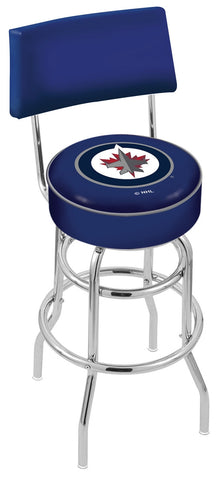"30"" L7C4 - Chrome Double Ring Winnipeg Jets Swivel Bar Stool with a Back by Holland Bar Stool Company"