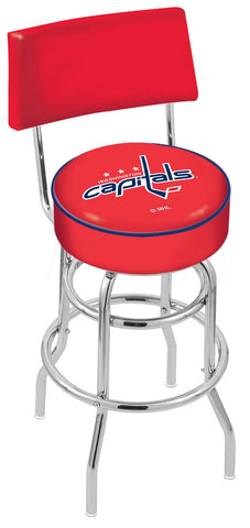"30"" L7C4 - Chrome Double Ring Washington Capitals Swivel Bar Stool with a Back by Holland Bar Stool Company"