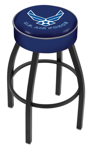 "30"" L8B1 - 4"" U.S. Air Force Cushion Seat with Black Wrinkle Base Swivel Bar Stool by Holland Bar Stool Company"