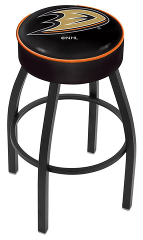 "30"" L8B1 - 4"" Anaheim Ducks Cushion Seat with Black Wrinkle Base Swivel Bar Stool by Holland Bar Stool Company"