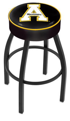 "ASU Mountaineers 30"" L8B1 - 4"" Appalachian State Cushion Seat with Black Wrinkle Base Swivel Bar Stool by Holland Bar Stool Company"