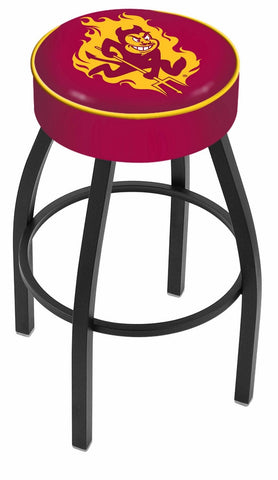 "ASU Sun Devils 30"" L8B1 - 4"" Arizona State Cushion Seat with Black Wrinkle Base Swivel Bar Stool by Holland Bar Stool Company"
