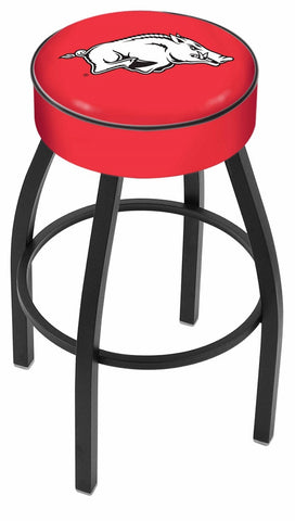 "Arkansas Razorbacks 30"" L8B1 - 4"" Arkansas Cushion Seat with Black Wrinkle Base Swivel Bar Stool by Holland Bar Stool Company"