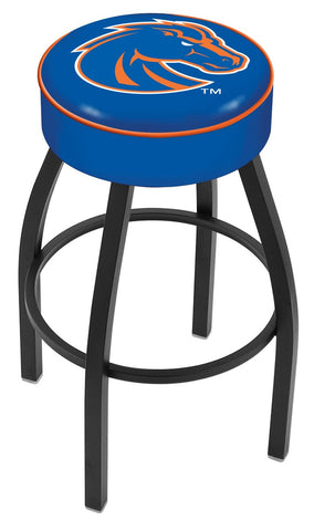 "BSU Broncos 30"" L8B1 - 4"" Boise State Cushion Seat with Black Wrinkle Base Swivel Bar Stool by Holland Bar Stool Company"