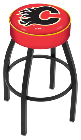 "30"" L8B1 - 4"" Calgary Flames Cushion Seat with Black Wrinkle Base Swivel Bar Stool by Holland Bar Stool Company"