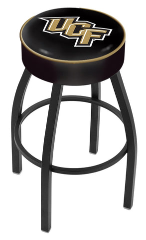 "UCF Knights 30"" L8B1 - 4"" Central Florida Cushion Seat with Black Wrinkle Base Swivel Bar Stool by Holland Bar Stool Company"