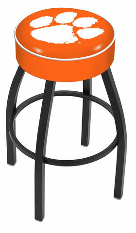 "Clemson  Tigers 30"" L8B1 - 4"" Clemson Cushion Seat with Black Wrinkle Base Swivel Bar Stool by Holland Bar Stool Company"