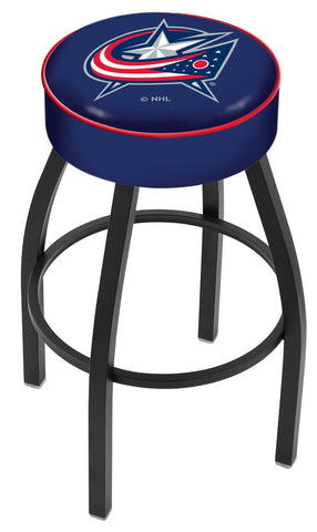 "30"" L8B1 - 4"" Columbus Blue Jackets Cushion Seat with Black Wrinkle Base Swivel Bar Stool by Holland Bar Stool Company"