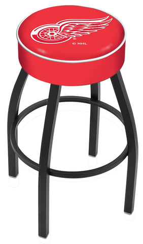 "30"" L8B1 - 4"" Detroit Red Wings Cushion Seat with Black Wrinkle Base Swivel Bar Stool by Holland Bar Stool Company"