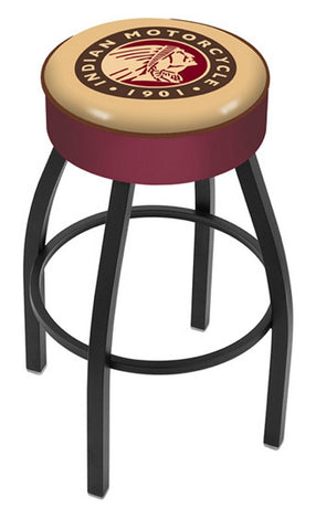 "30"" L8B1 - 4"" Indian Motorcycle Cushion Seat with Black Wrinkle Base Swivel Bar Stool by Holland Bar Stool Company"