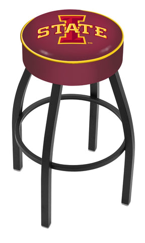 "ISU Cyclones 30"" L8B1 - 4"" Iowa State Cushion Seat with Black Wrinkle Base Swivel Bar Stool by Holland Bar Stool Company"