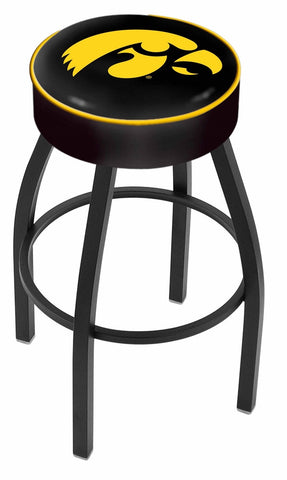 "Iowa Hawkeyes 30"" L8B1 - 4"" Iowa Cushion Seat with Black Wrinkle Base Swivel Bar Stool by Holland Bar Stool Company"