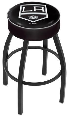 "30"" L8B1 - 4"" Los Angeles Kings Cushion Seat with Black Wrinkle Base Swivel Bar Stool by Holland Bar Stool Company"