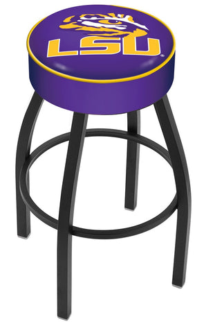 "LSU Tigers 30"" L8B1 - 4"" Louisiana State Cushion Seat with Black Wrinkle Base Swivel Bar Stool by Holland Bar Stool Company"