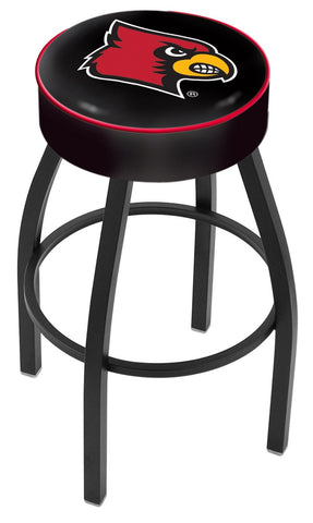 "UofL Cardinals 30"" L8B1 - 4"" Louisville Cushion Seat with Black Wrinkle Base Swivel Bar Stool by Holland Bar Stool Company"
