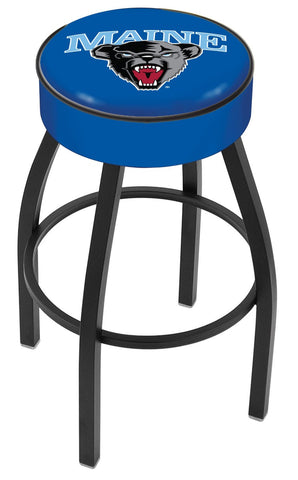 "Maine Black Bears 30"" L8B1 - 4"" Maine Cushion Seat with Black Wrinkle Base Swivel Bar Stool by Holland Bar Stool Company"