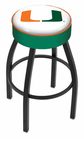 "Miami Hurricanes 30"" L8B1 - 4"" Miami (FL) Cushion Seat with Black Wrinkle Base Swivel Bar Stool by Holland Bar Stool Company"