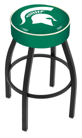 "MSU Spartans 30"" L8B1 - 4"" Michigan State Cushion Seat with Black Wrinkle Base Swivel Bar Stool by Holland Bar Stool Company"
