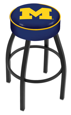 "Michigan Wolverines 30"" L8B1 - 4"" Michigan Cushion Seat with Black Wrinkle Base Swivel Bar Stool by Holland Bar Stool Company"