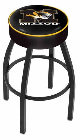"Mizzou Tigers 30"" L8B1 - 4"" Missouri Cushion Seat with Black Wrinkle Base Swivel Bar Stool by Holland Bar Stool Company"