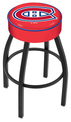 "30"" L8B1 - 4"" Montreal Canadiens Cushion Seat with Black Wrinkle Base Swivel Bar Stool by Holland Bar Stool Company"