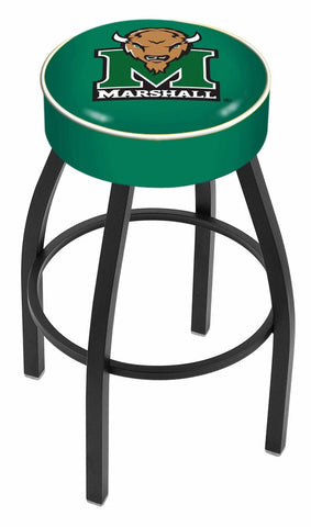"Marshall  Thundering Herd 30"" L8B1 - 4"" Marshall Cushion Seat with Black Wrinkle Base Swivel Bar Stool by Holland Bar Stool Company"
