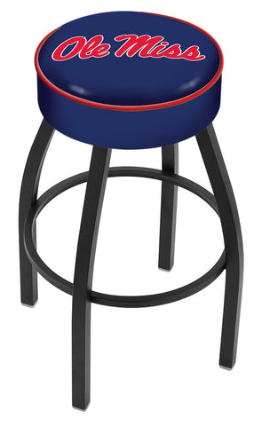 "Ole Miss Rebels 30"" L8B1 - 4"" Ole' Miss Cushion Seat with Black Wrinkle Base Swivel Bar Stool by Holland Bar Stool Company"