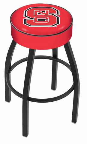 "NC State Wolfpack 30"" L8B1 - 4"" North Carolina State Cushion Seat with Black Wrinkle Base Swivel Bar Stool by Holland Bar Stool Company"