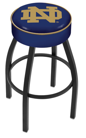 "ND Fighting Irish 30"" L8B1 - 4"" Notre Dame (ND) Cushion Seat with Black Wrinkle Base Swivel Bar Stool by Holland Bar Stool Company"