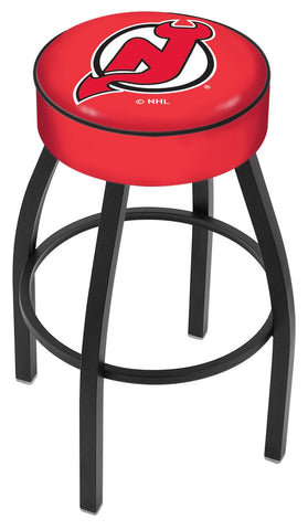 "30"" L8B1 - 4"" New Jersey Devils Cushion Seat with Black Wrinkle Base Swivel Bar Stool by Holland Bar Stool Company"