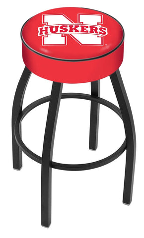 "Nebraska Cornhuskers 30"" L8B1 - 4"" Nebraska Cushion Seat with Black Wrinkle Base Swivel Bar Stool by Holland Bar Stool Company"