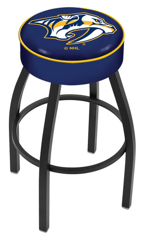 "30"" L8B1 - 4"" Nashville Predators Cushion Seat with Black Wrinkle Base Swivel Bar Stool by Holland Bar Stool Company"