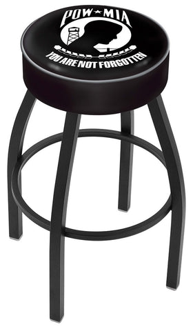 "30"" L8B1 - 4"" POW/MIA Cushion Seat with Black Wrinkle Base Swivel Bar Stool by Holland Bar Stool Company"