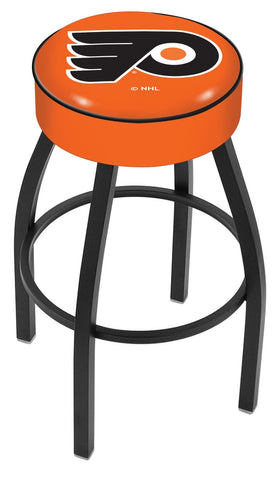 "30"" L8B1 - 4"" Philadelphia Flyers Cushion Seat with Black Wrinkle Base Swivel Bar Stool by Holland Bar Stool Company"