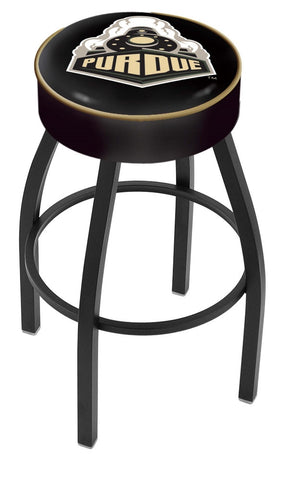 "Purdue  Boilermakers 30"" L8B1 - 4"" Purdue Cushion Seat with Black Wrinkle Base Swivel Bar Stool by Holland Bar Stool Company"