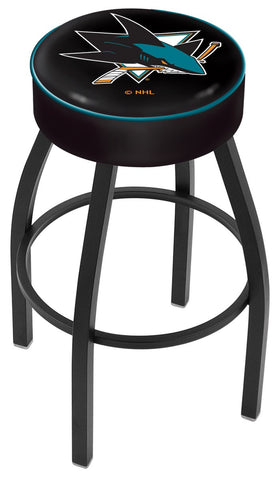 "30"" L8B1 - 4"" San Jose Sharks Cushion Seat with Black Wrinkle Base Swivel Bar Stool by Holland Bar Stool Company"