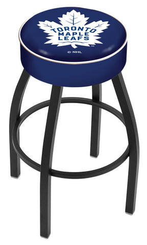 "30"" L8B1 - 4"" Toronto Maple Leafs Cushion Seat with Black Wrinkle Base Swivel Bar Stool by Holland Bar Stool Company"