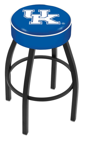 "UK Wildcats 30"" L8B1 - 4"" Kentucky ""UK"" Cushion Seat with Black Wrinkle Base Swivel Bar Stool by Holland Bar Stool Company"