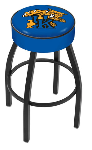 "UK Wildcats 30"" L8B1 - 4"" Kentucky ""Wildcat"" Cushion Seat with Black Wrinkle Base Swivel Bar Stool by Holland Bar Stool Company"