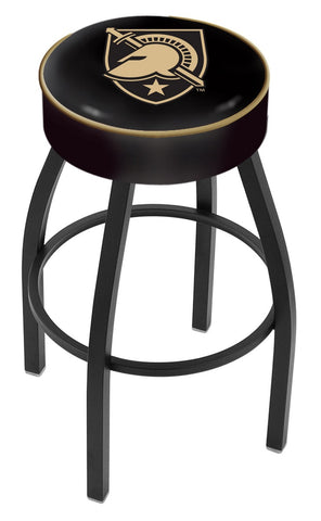 "Army Black Knights 30"" L8B1 - 4"" US Military Academy (ARMY) Cushion Seat with Black Wrinkle Base Swivel Bar Stool by Holland Bar Stool Company"