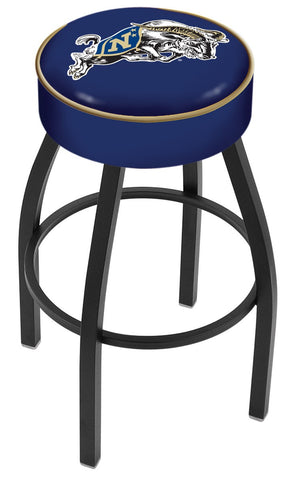 "Navy Midshipmen 30"" L8B1 - 4"" US Naval Academy (NAVY) Cushion Seat with Black Wrinkle Base Swivel Bar Stool by Holland Bar Stool Company"