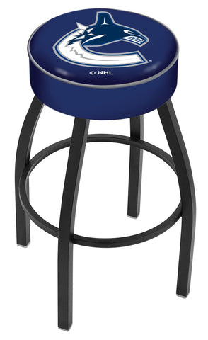 "30"" L8B1 - 4"" Vancouver Canucks Cushion Seat with Black Wrinkle Base Swivel Bar Stool by Holland Bar Stool Company"