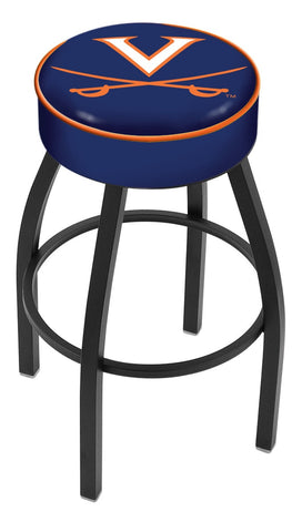 "UVA Cavaliers 30"" L8B1 - 4"" Virginia Cushion Seat with Black Wrinkle Base Swivel Bar Stool by Holland Bar Stool Company"