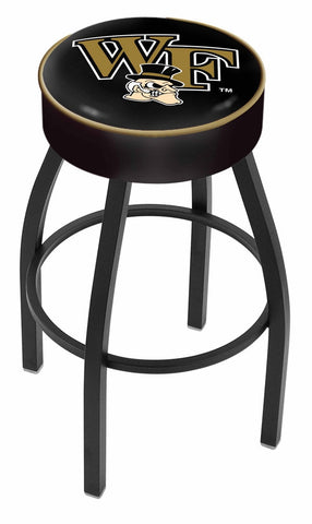 "Wake Forest Demon Deacons 30"" L8B1 - 4"" Wake Forest Cushion Seat with Black Wrinkle Base Swivel Bar Stool by Holland Bar Stool Company"