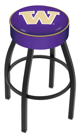 "UW Huskies 30"" L8B1 - 4"" Washington Cushion Seat with Black Wrinkle Base Swivel Bar Stool by Holland Bar Stool Company"