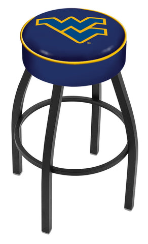 "WVU Mountaineers 30"" L8B1 - 4"" West Virginia Cushion Seat with Black Wrinkle Base Swivel Bar Stool by Holland Bar Stool Company"