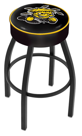 "Wichita State  Shockers 30"" L8B1 - 4"" Wichita State Cushion Seat with Black Wrinkle Base Swivel Bar Stool by Holland Bar Stool Company"